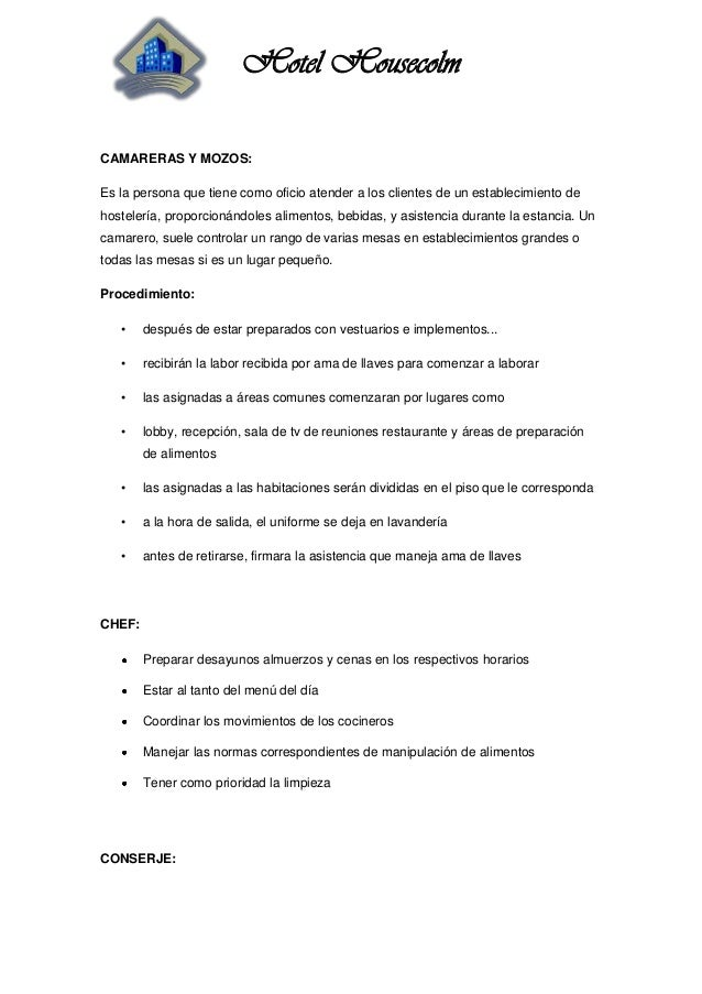 Manual de funciones y procedimientos for Implementos para restaurante