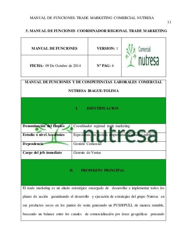 MANUAL DE FUNCIONES: TRADE MARKETING COMERCIAL NUTRESA  11  5. MANUAL DE FUNCIONES COORDINADOR REGIONAL TRADE MARKETING  M...