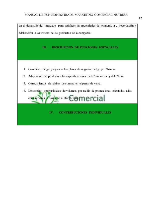 MANUAL DE FUNCIONES: TRADE MARKETING COMERCIAL NUTRESA  12  en el desarrollo del mercado para satisfacer las necesidades d...