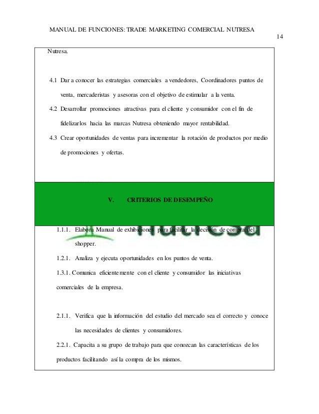 MANUAL DE FUNCIONES: TRADE MARKETING COMERCIAL NUTRESA  14  Nutresa.  4.1 Dar a conocer las estrategias comerciales a vend...