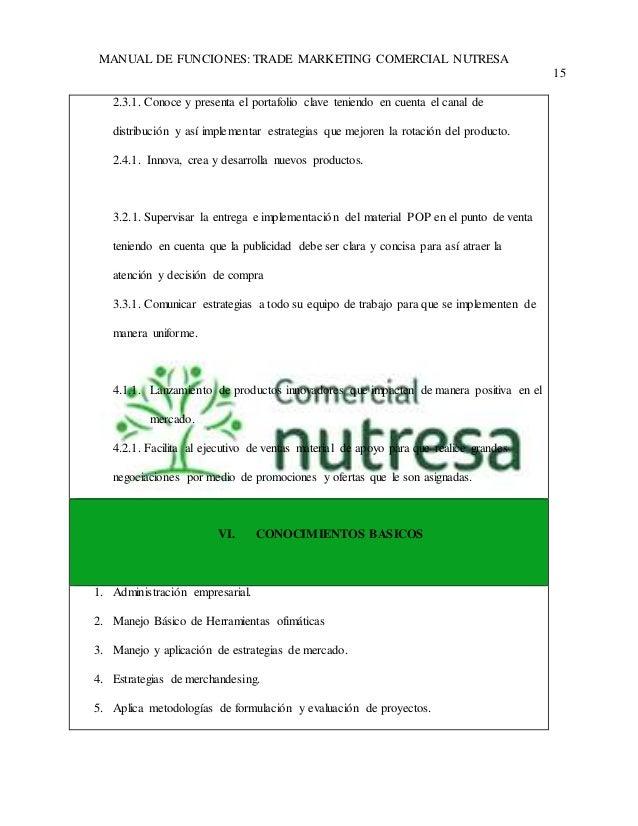 MANUAL DE FUNCIONES: TRADE MARKETING COMERCIAL NUTRESA  15  2.3.1. Conoce y presenta el portafolio clave teniendo en cuent...
