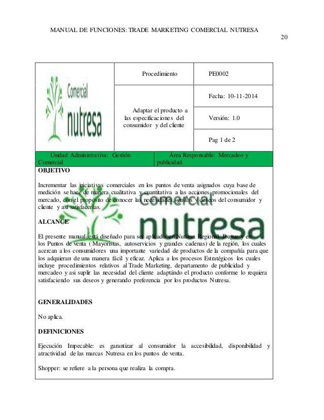 MANUAL DE FUNCIONES: TRADE MARKETING COMERCIAL NUTRESA  20  Procedimiento  PE0002  Adaptar el producto a  las especificaci...