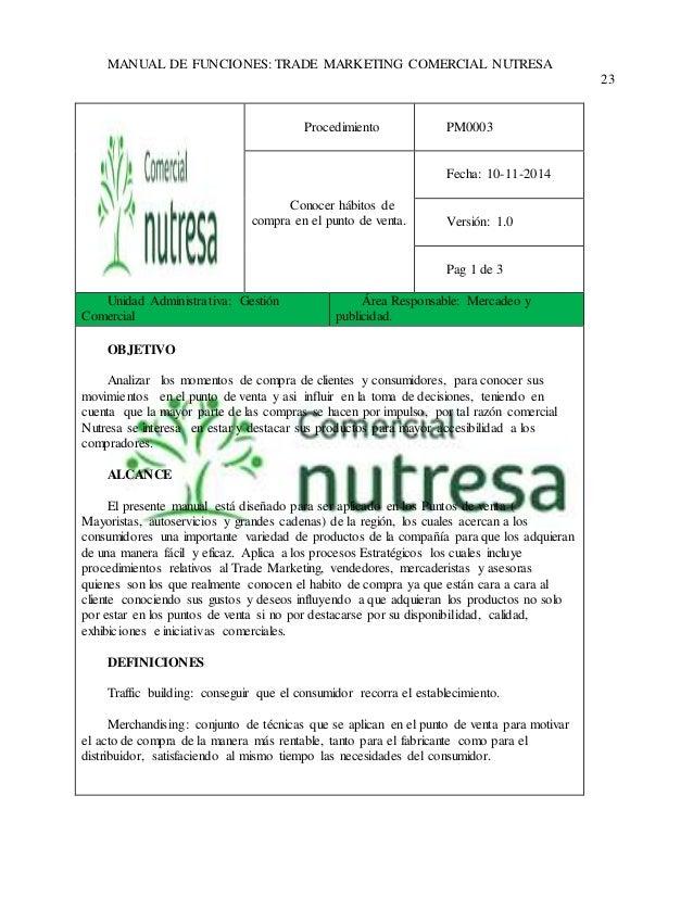 MANUAL DE FUNCIONES: TRADE MARKETING COMERCIAL NUTRESA  23  Procedimiento  PM0003  Conocer hábitos de  compra en el punto ...