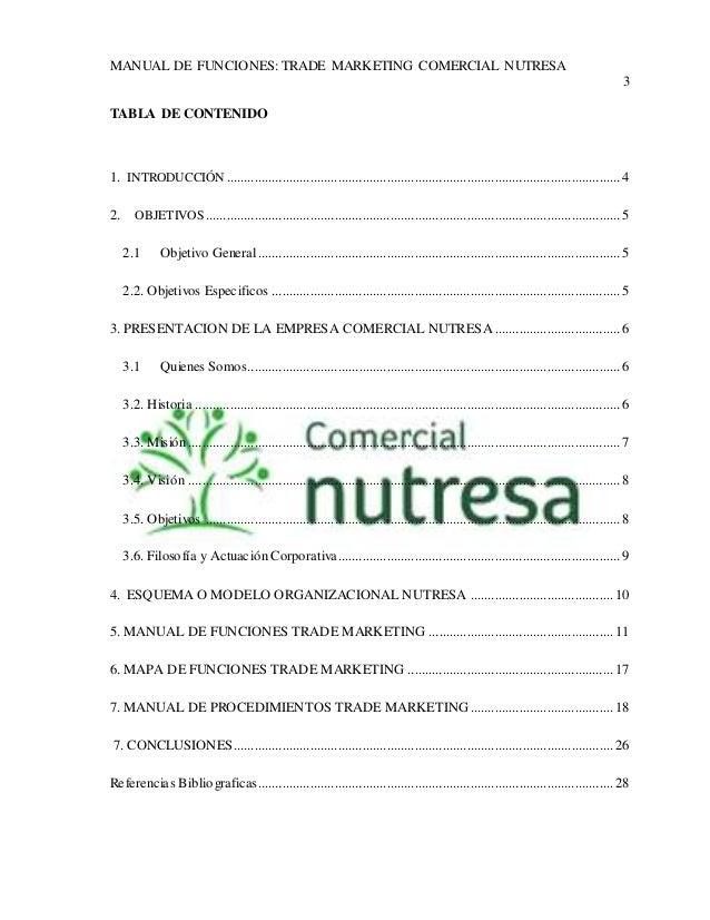MANUAL DE FUNCIONES: TRADE MARKETING COMERCIAL NUTRESA  3  TABLA DE CONTENIDO  1. INTRODUCCIÓN ..............................