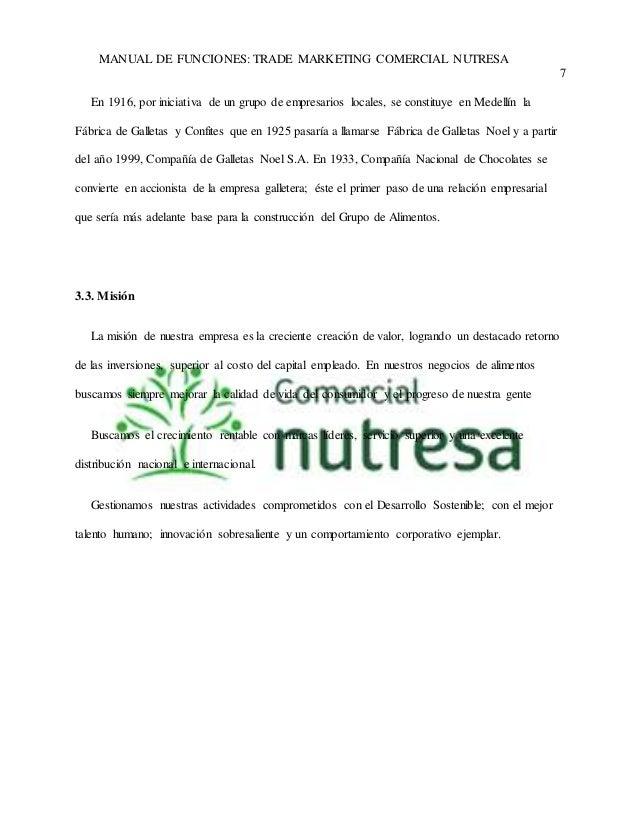 MANUAL DE FUNCIONES: TRADE MARKETING COMERCIAL NUTRESA  7  En 1916, por iniciativa de un grupo de empresarios locales, se ...
