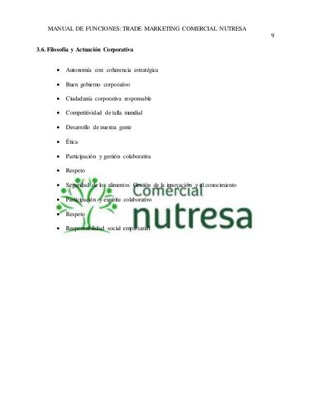 MANUAL DE FUNCIONES: TRADE MARKETING COMERCIAL NUTRESA  9  3.6. Filosofía y Actuación Corporativa   Autonomía con coheren...