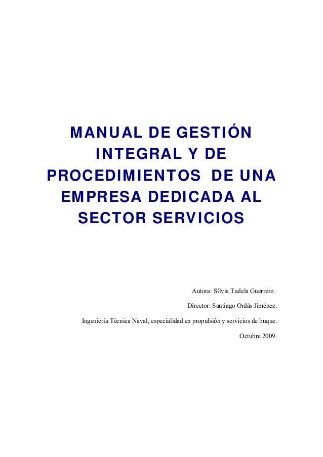 Manual de gestion integral y procedimientos for Manual de procedimientos de una empresa de alimentos