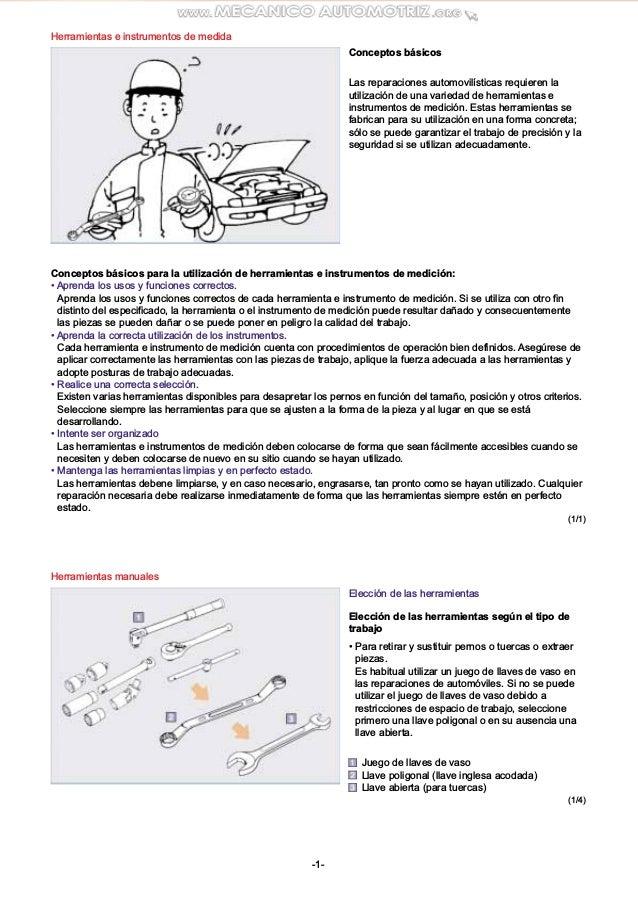 Herramientas e instrumentos de medida Herramientas manuales Conceptos  básicos Las reparaciones automovilísticas requieren . 67cd76d622b8