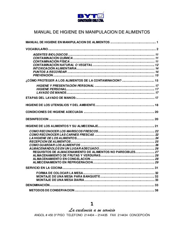 1 La excelencia a su servicio ANGOL # 450 3º PISO TELEFONO 214434 – 214435 FAX 214434 CONCEPCIÓN MMAANNUUAALL DDEE HHIIGGI...