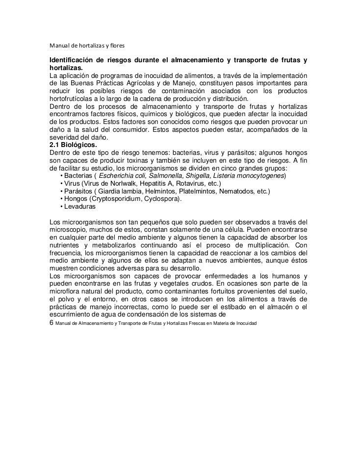 Manual de hortalizas y flores <br />Identificación de riesgos durante el almacenamiento y transporte de frutas y hortaliza...