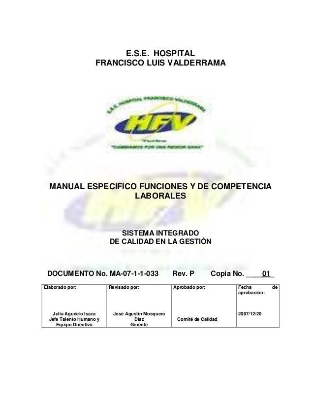 E.S.E. HOSPITALFRANCISCO LUIS VALDERRAMAMANUAL ESPECIFICO FUNCIONES Y DE COMPETENCIALABORALESSISTEMA INTEGRADODE CALIDAD E...