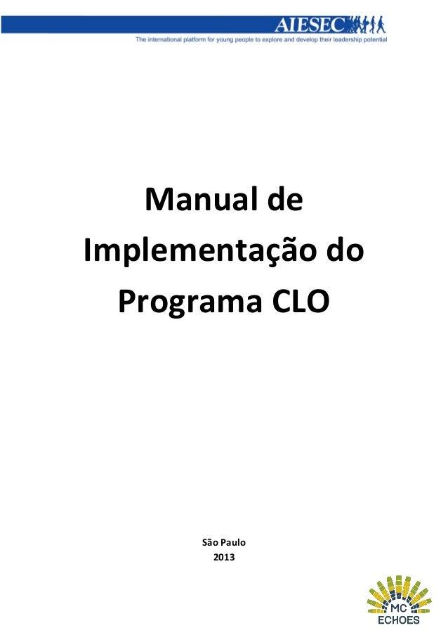 Manual de Implementação do Programa CLO  São Paulo 2013