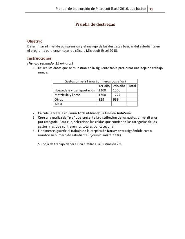 Manual de instrucci n de microsoft excel 2010 for Hospedaje para universitarios
