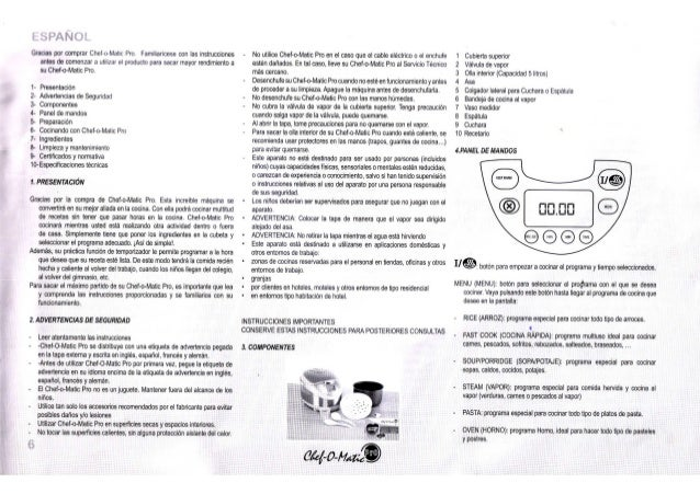 Manual de instrucciones chef o matic pro