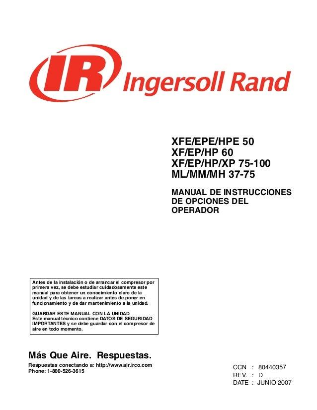 manual de operador ingersoll rand rh es slideshare net ingersoll rand ssr 2000 service manual Maintenance Ingersoll Rand SSR Parts