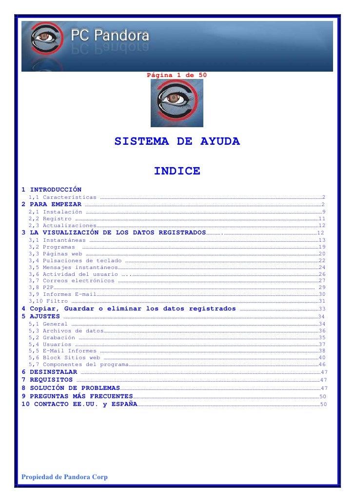 Página 1 de 50                                 SISTEMA DE AYUDA                                      INDICE 1 INTRODUCCIÓN...