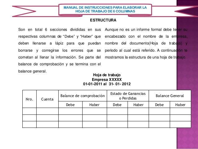 Manual de instrucciones para la elaboracion de la hoja de contabilida…