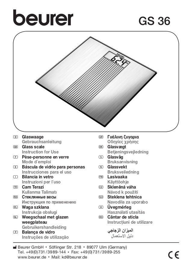 D Glaswaage  Gebrauchsanleitung  G Glass scale  Instruction for Use  F Pèse-personne en verre  Mode d´emploi  E Báscula de...