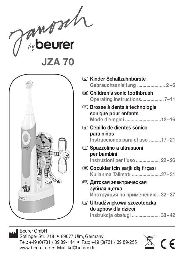 D Kinder Schallzahnbürste  Gebrauchsanleitung ..................... 2 – 6  G Children's sonic toothbrush  Operating instru...