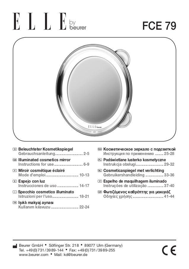 D Beleuchteter Kosmetikspiegel  Gebrauchsanleitung........................... 2-5  G Illuminated cosmetics mirror  Instruc...