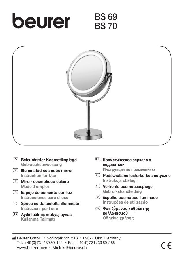 D Beleuchteter Kosmetikspiegel  Gebrauchsanweisung  G Illuminated cosmetic mirror  Instruction for Use  F Miroir cosmétiqu...