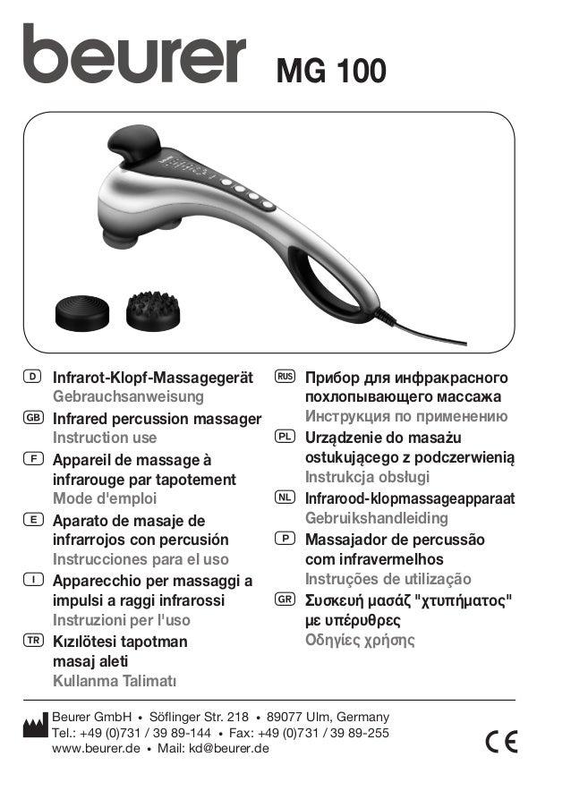 MG 100  D Infrarot-Klopf-Massagegerät  Gebrauchsanweisung  G Infrared percussion massager  Instruction use  F Appareil de ...
