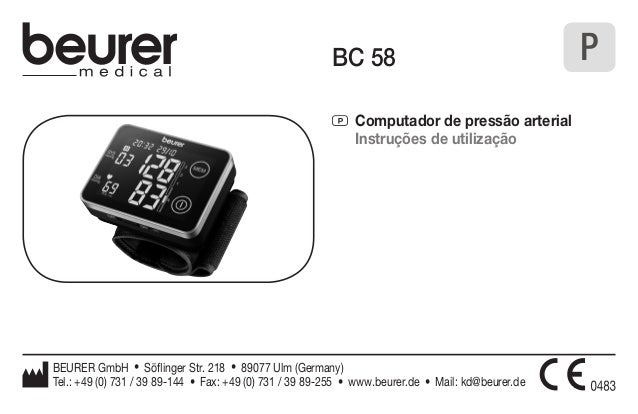 BC 58  P Computador de pressão arterial  Instruções de utilização  BEURER GmbH • Söflinger Str. 218 • 89077 Ulm (Germany) ...