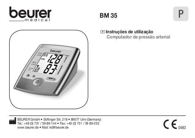 BM 35 P  P Instruções de utilização  Computador de pressão arterial  BEURER GmbH • Söflinger Str. 218 • 89077 Ulm (Germany...