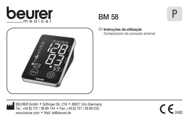 BM 58  P Instruções de utilização  Computador de pressão arterial  P  BEURER GmbH • Söflinger Str. 218 • 89077 Ulm (German...