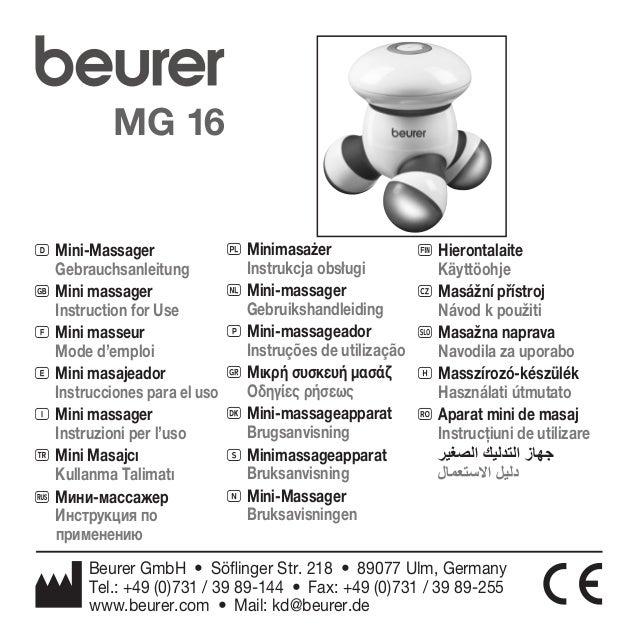 MG 16  D Mini-Massager  Gebrauchsanleitung  G Mini massager  Instruction for Use  F Mini masseur  Mode d'emploi  E Mini ma...