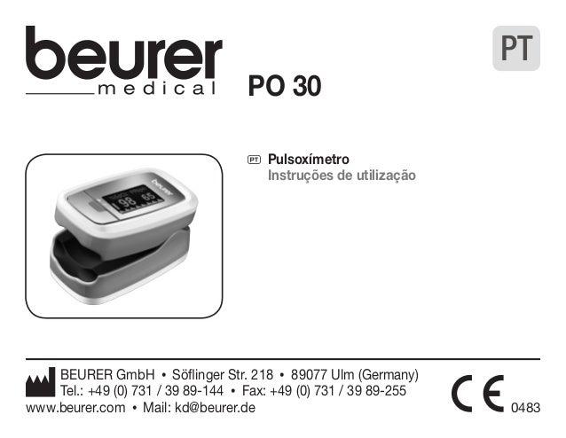 PO 30  P Pulsoxímetro  Instruções de utilização  BEURER GmbH • Söflinger Str. 218 • 89077 Ulm (Germany)  Tel.: +49 (0) 731...