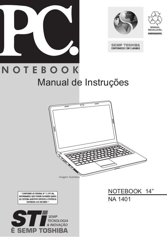 """N O T E B O O K  Manual de Instruções  NOTEBOOK 14""""  NA 1401"""