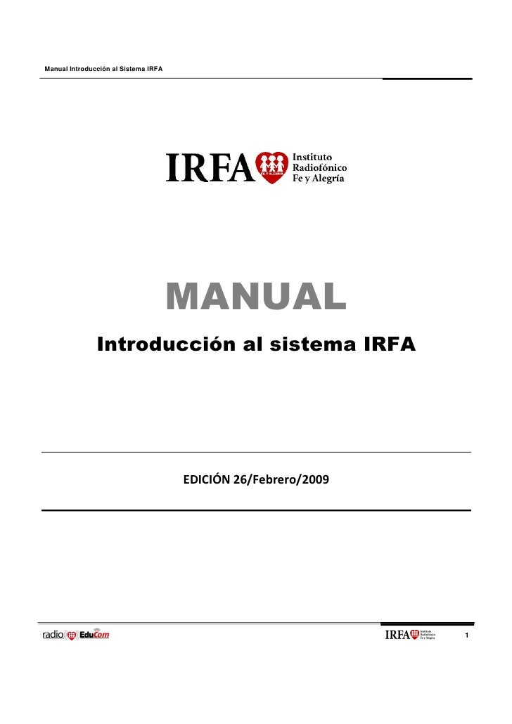 Manual Introducción al Sistema IRFA                                           MANUAL                Introducción al sistem...