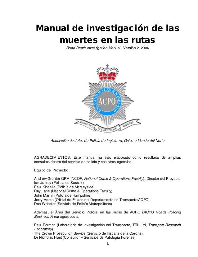 Manual de investigación de las    muertes en las rutas                  Road Death Investigation Manual - Versión 2, 2004 ...