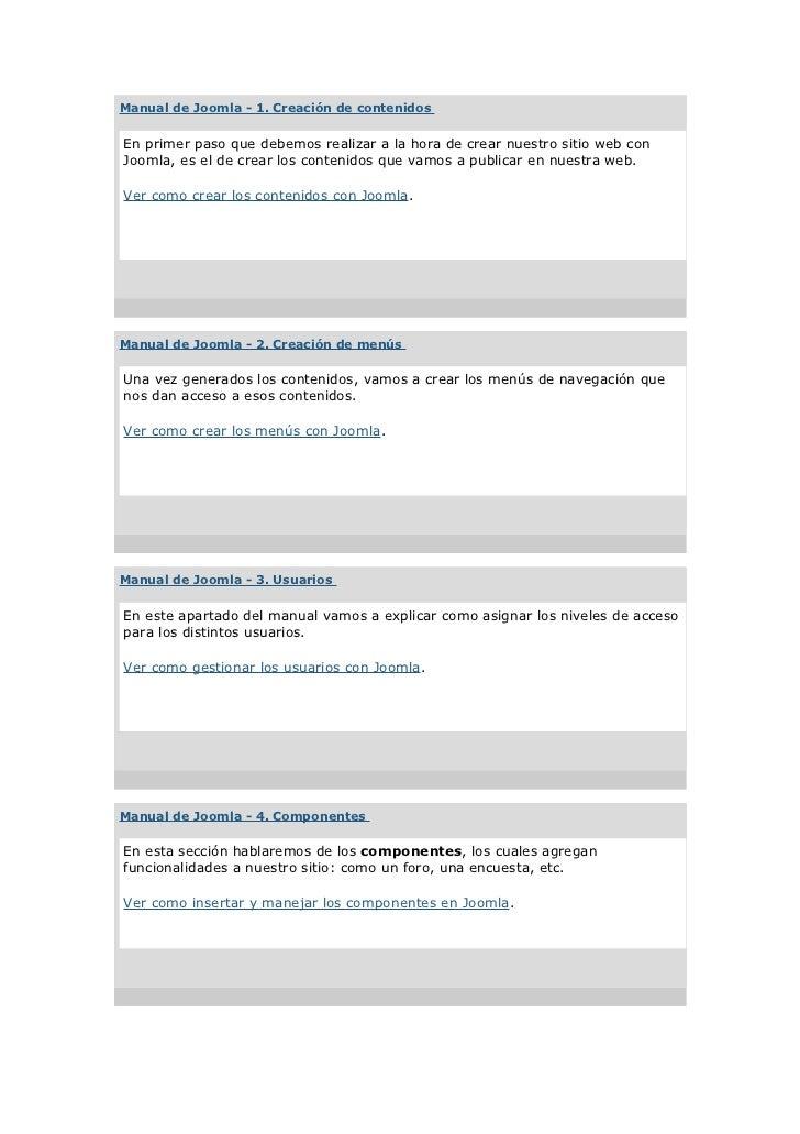 Manual de Joomla - 1. Creación de contenidosEn primer paso que debemos realizar a la hora de crear nuestro sitio web conJo...