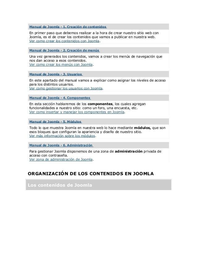 Manual de Joomla - 1. Creación de contenidos En primer paso que debemos realizar a la hora de crear nuestro sitio web con ...