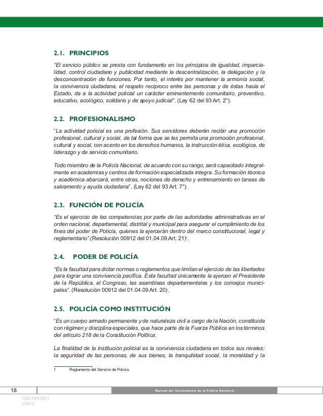 Manual del Comandante de la Policía Nacional de los Colombianos