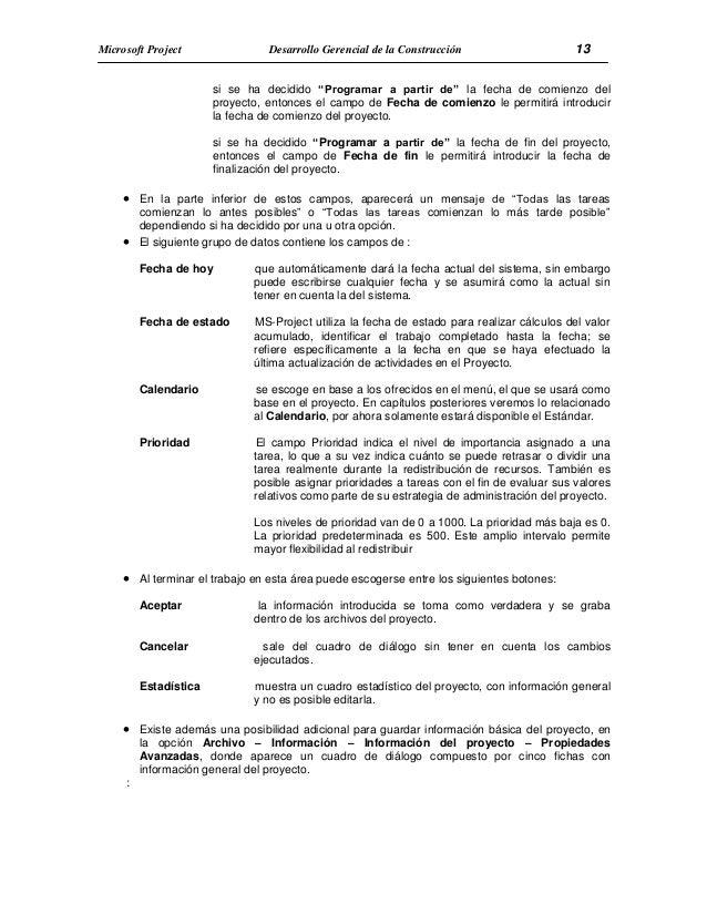 Manual del curso project 2013