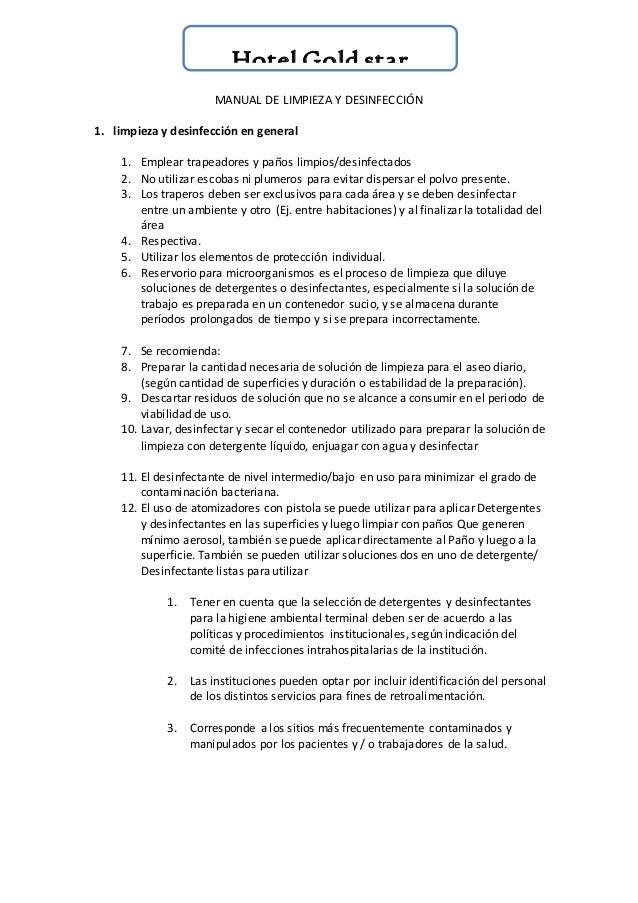 Manual de limpieza i desinfecion for Manual de limpieza y desinfeccion en restaurantes
