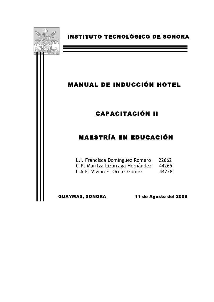 INSTITUTO TECNOLÓGICO DE SONORA        MANUAL DE INDUCCIÓN HOTEL                     ARMIDA               CAPACITACIÓN II ...
