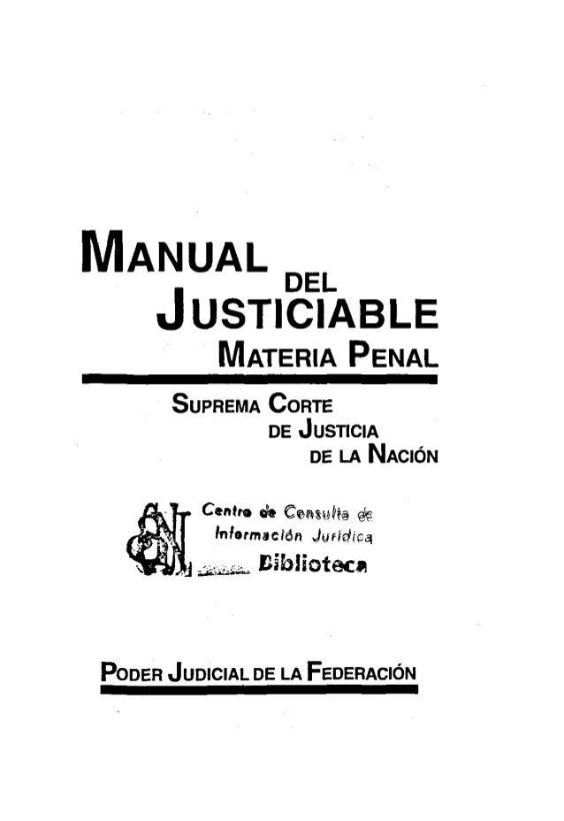 Manual del justiciable materia penal