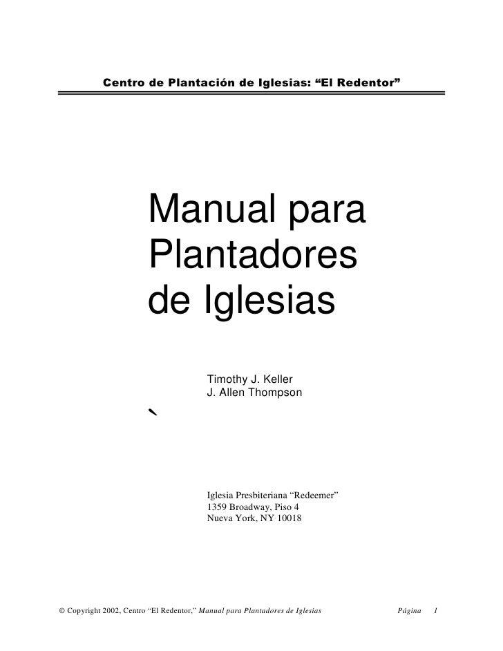 """Centro de Plantación de Iglesias: """"El Redentor""""                              Manual para                          Plantado..."""