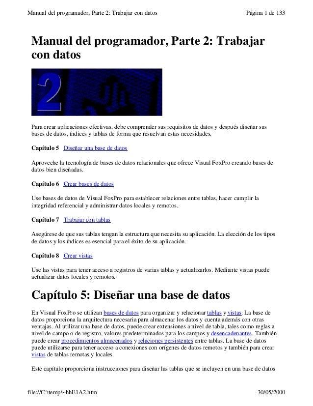 Manual del programador, Parte 2: Trabajar con datos Página 1 de 133file://C:temp~hhE1A2.htm 30/05/2000Manual del programad...
