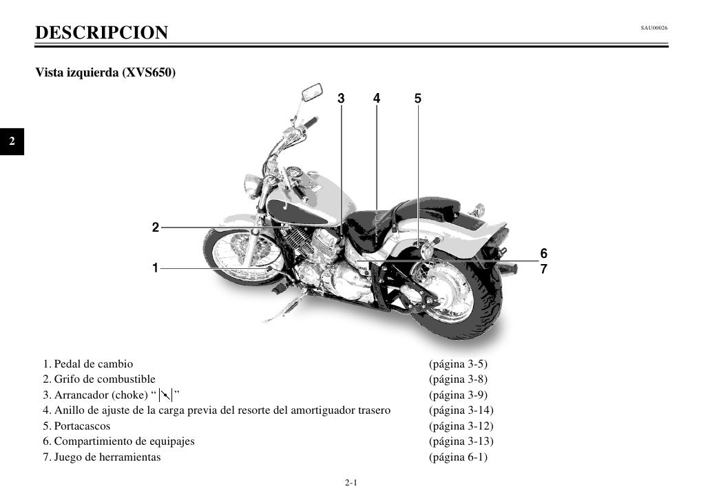Manual del propietario yamaha 650 v star