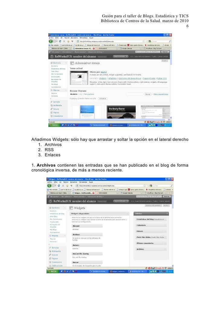 Guión para el taller de Blogs. Estadística y TICS                                    Biblioteca de Centros de la Salud. ma...