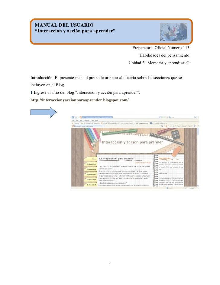 """MANUAL DEL USUARIO   """"Interacción y acción para aprender""""                                                               Pr..."""