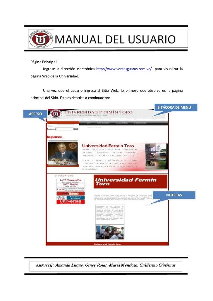 manual del usuario pagina web uft rh es slideshare net ejemplos de manual de usuario para un software ejemplos de manual de usuario