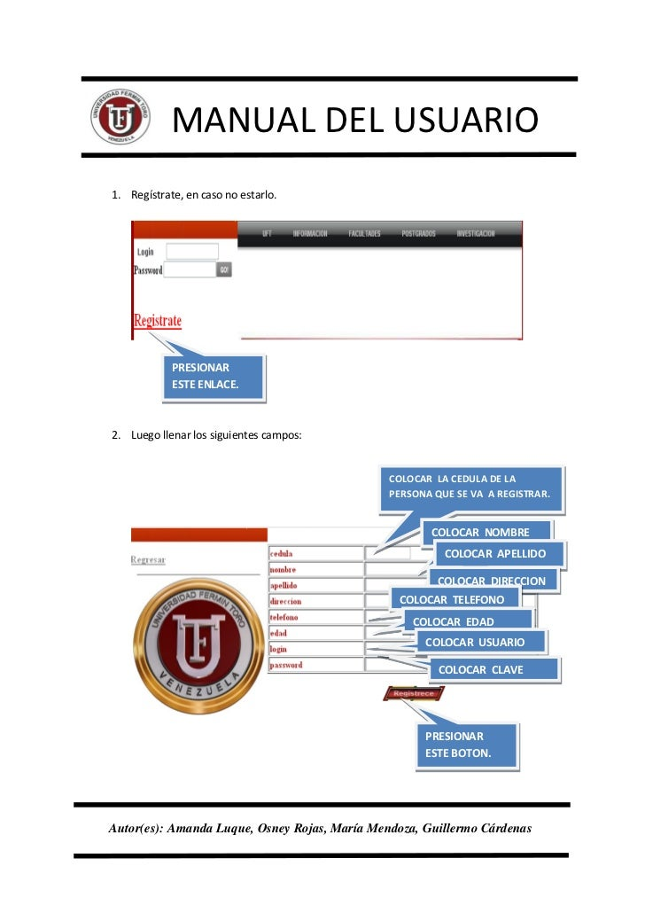 Manual del usuario pagina web uft for Del website