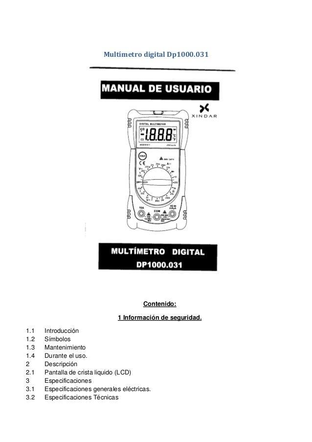 manual del usuario Multimetro