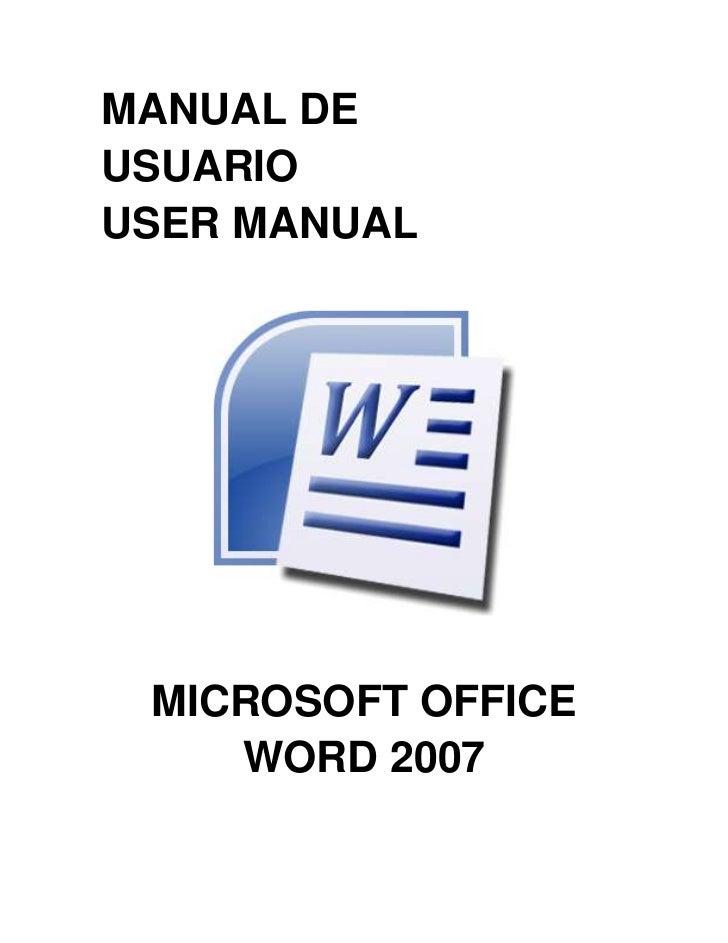MANUAL DEUSUARIOUSER MANUAL MICROSOFT OFFICE    WORD 2007